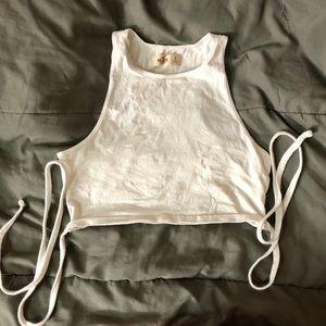 White High-Neck Wrap Ultra Crop Top
